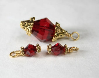 Hand Wrapped Red Crystal Charm Set, Wire Wrapped Bead Dangles, Set of 3