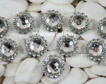 Clear Rhinestone Buttons - Acrylic - 23mm - Set of 10