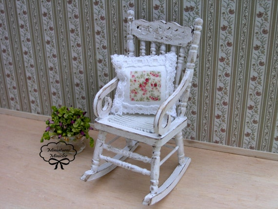 Shabby Chic Rocking Chair Pads : Miniature Dollhouse Rocking Chair With Cushion Shabby Chic