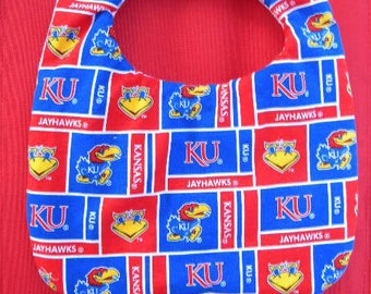 Hand Crafted Kansas University KU Jayhawks Baby Bib