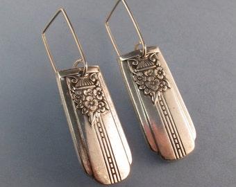 SPOON EARRINGS - SPOON jewelry-sterling silver spoon earrings - silverware earrings - dangle earring. vintage earring  No.0041