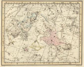 Galaxy, Constellation, Constellation print, Constellation of Andromeda, 30