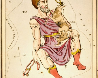 Constellation map, Moon globe, Galaxy, Constellation of Auriga, 155