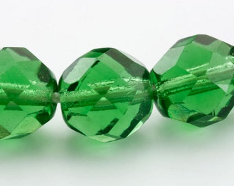 72 Green Faceted Beads, 9mm High Quality Preciosa Emerald Glass Bead, Quantity Discount, Loose Jewelry Craft Mixed Media Beading Supply
