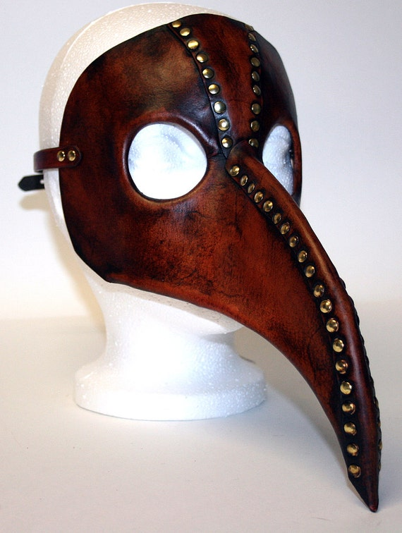 Plague Doctor Mask , steampunk inspired in acorn brown, antiqued leather with brass rivets and buckle