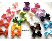 You Pick Five - Medium Size Bow - 2-1/2 Inch Classic Baby Hair Bow on Lined Alligator Clip - Baby Toddler Girl Barrette