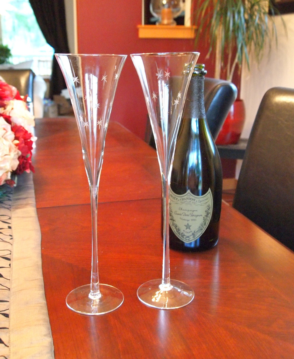 Tall unique champagne flutes with etched stars set of 2 - Unusual champagne flutes ...