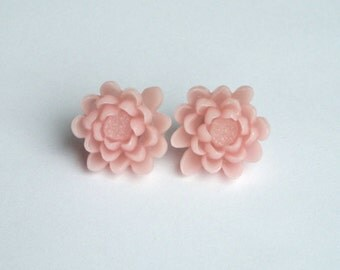 Large Pink Flower Stud Earrings - Cotton Candy Flower on Surgical Steel Studs - Vintage Look, Wedding