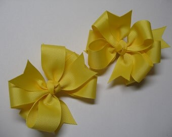 TWO Solid Stacked Sunshine Yellow Maize Pig Tail Toddler Girl School Uniform Grosgrain Hair Bows 2 piece set