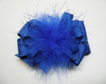 Princess Hair Bow Royal Blue Marabou Posh Diva Girl OTT Boutique Pageant Wear