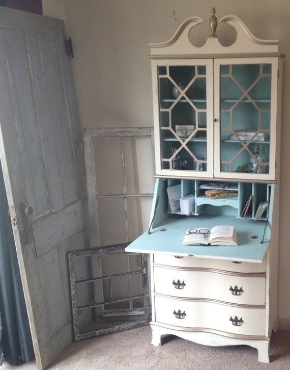Vintage Secretary Hutch Desk Small Distressed Old White