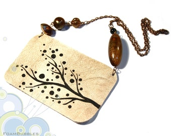 Hand Painted Leather Necklace with a blossom Branch. Ready to ship