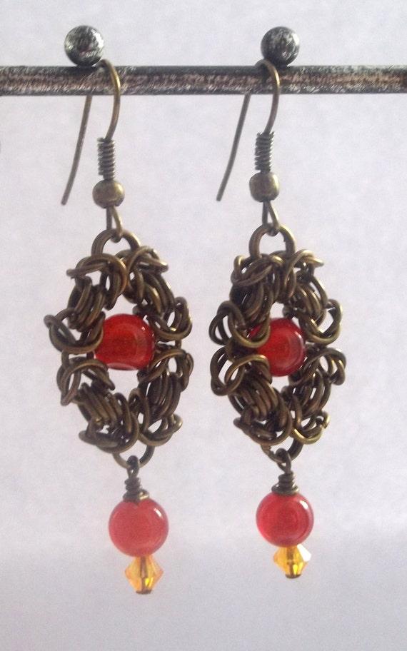 Carnelian Earrings - Flaming June Bronze Chain Earrings with Carneliian Beads