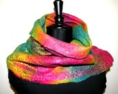 OOAK Rainbow scarf, merino wool, silk, handmade, ready to ship.