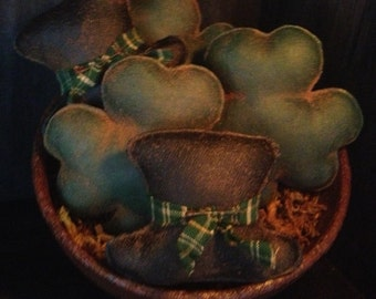 Primitive St. Patricks Day Shamrock and Leprechaun Hat bowl fillers