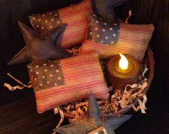 Primitive American Flag and Blue Stars Bowl Fillers