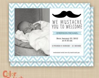 Mustache Birth Announcement - Chevron - Mustache Baby - Mustache Invitation - Mustache photo card - Printable