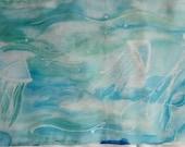 Hand Painted Underwater Jellyfish Silk Scarf