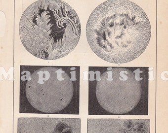 1891 The Sun - Several Images of the Sun's Surface, the Corona and Spots observed in the 1870's Antique Map