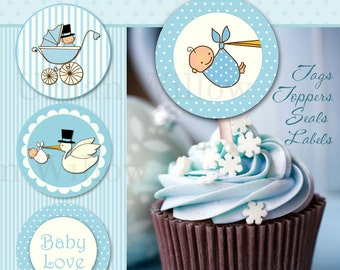 Baby Shower Cupcake Toppers, Baby Boy Toppers, 2 inch circles Blue with Stork, Cute Stork Cupcake Toppers, Baby Boy Shower Printables