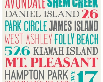 """The """"Original"""" Charleston, SC Typography Poster No. 2 - Color Choices"""