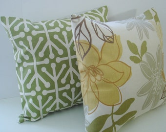 Pillow Covers. Set Of Two Pillow Covers . natural  orange  olive green 16 X 16  Accent Pillows  Throw Pillows  Decorative Throw Pillows