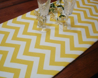 Yellow Chevron  TABLE RUNNER- - 13 x 72 - Table Cloth - Decorative   Wedding Table Runners