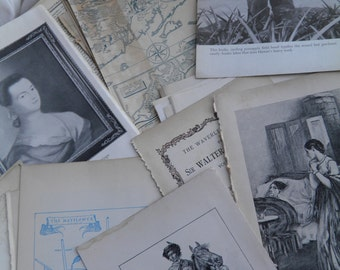 Paper Bundle -German- English Salvage Book Pages & Pictures with Beautiful Patina for DIY Treasures