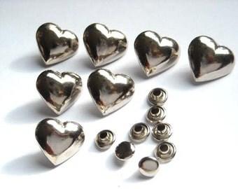 10 Sets Silver Heart Rivet Studs - 20-R-2