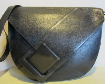 Gorgeous big DELVAUX, vintage, original , black leather shoulder bag, Belgium