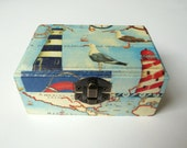 Wooden box with sea and lighthouse print, decoupage (napkin) technique