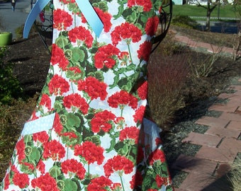 Cheerful Red Geraniums Women's Flare Apron