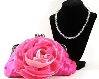 Satin Clutch and Necklace - Pink Satin Clutch with a Swarovski Crystal Purse Handle that can also be worn as a Necklace