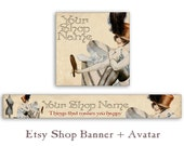 Personalized Etsy banner and avatar Etsy shop banner Etsy shop set Digital Download - MAKES HAPPY