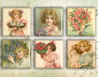 Digital Squares - Digital Collage Sheet - 1inch - Printable Download - Instant download - VINTAGE CHILDREN SQUARES