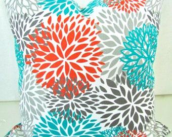 Exceptional ORANGE PILLOWS Orange Teal Throw Pillow Covers Turquoise Outdoor Gray  Pillows Euro Shams 24x24 26 18x18