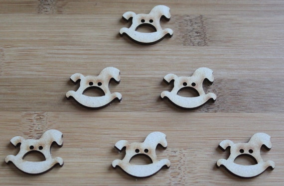 6 Craft Wood  Little Rocking Horse buttons, 3.1 cm Wide, Laser Cut