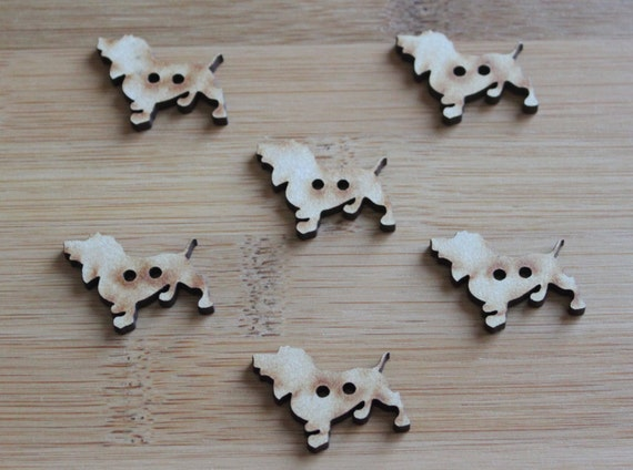 6 Craft Wood  Hound Dog buttons, 2.7 cm Wide, Laser Cut