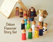 Passover STORY SET, ten plagues, Seder for Kids, Kid Friendly Seder Deluxe story set, matzah tent set