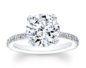 Women's 14kt white gold antique diamond engagement ring with 2ct Round Brilliant natural white sapphire center 0.25 ctw diamonds