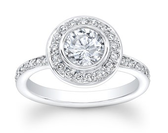 Ladies 14kt white gold vintage engagement ring with 1ct Round White Sapphire Center and 0.50 ctw G-VS2 pave diamonds