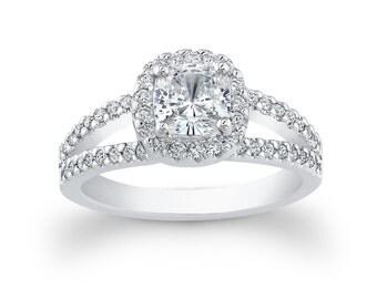 Ladies Platinum engagement ring 0.40 ctw G-VS2 diamonds with 1ct Natural White Sapphire Center