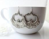 Bohemian Silver Hoop Earrings, Arabesque Dangles, Morrocan Earrings, Boho Jewelry, Art Deco, Boho Jewelry, Kuchi