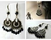 Bohemian Black Chandelier Earrings, Boho Earrings, Rustic Gypsy Earrings, Czech Glass Chandelier, Bohemian Jewelry