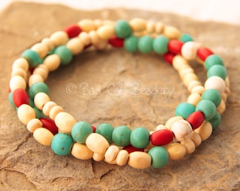 Beaded Stretch Bracelets Red Blue Stone Turquoise White Cream Wood the Bad Cat Beadery