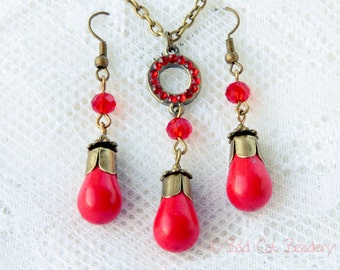 WAS 38.50 NOW 28.50 Poppy Red Jewelry Set Earrings Necklace Red Crystal Circle Stone Turquoise and Bronze