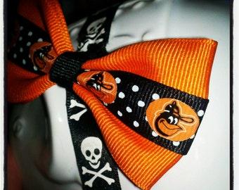 O's & Bows: Torrid Orange w/Black and White Polka Dot Center Stripe Featuring Orange Oriole Bird Head