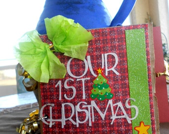 Custom MADE TO ORDER Our First Christmas Mini Paperbag Premade Scrapbook Album