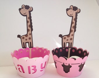 Giraffe Cupcake Toppers/Baby Shower/Happy Birthday Party/Cupcake Wrapper
