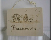 Bathroom Door Hanger pyrography / pyrographed